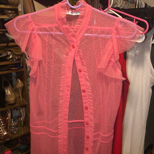 Necessary objects See-through shirt pink Size M